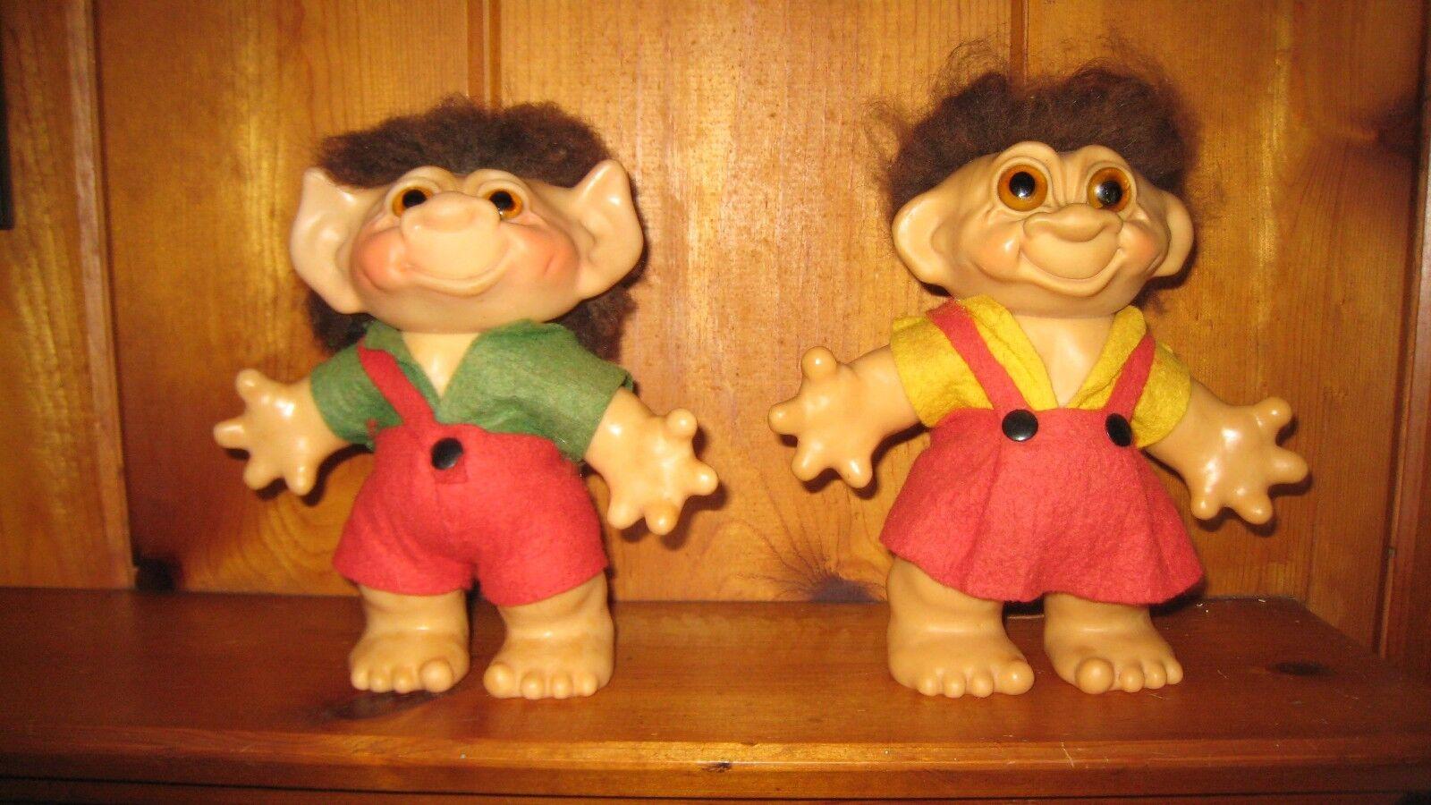 Muñecos Troll (2) tarde década de 1950 Thomas Dam niño y niña excepcionalmente bien Original
