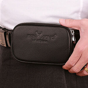 Men Genuine Leather Cell Mobile Phone Hook Belt Pouch ...