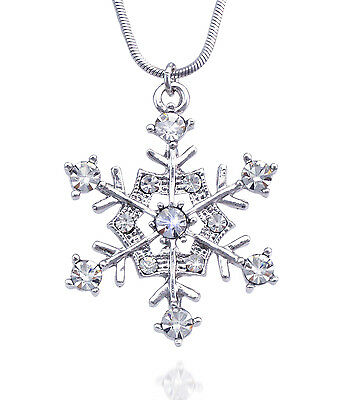 Clear Crystal Snowflake Bridesmaid Necklace Wedding Bridal Jewelry Gift Box
