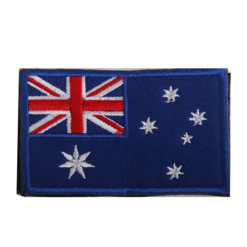 Australian Flag Emblem Fasterner Patch Embroidered Hook Badge 8cm x 5cm