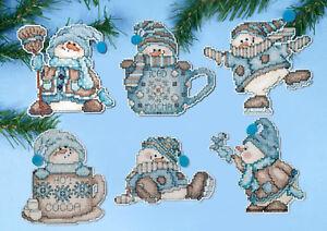 Cross-Stitch-Kit-Design-Works-6-Cocoa-Snowman-Christmas-Ornaments-PC-DW1689