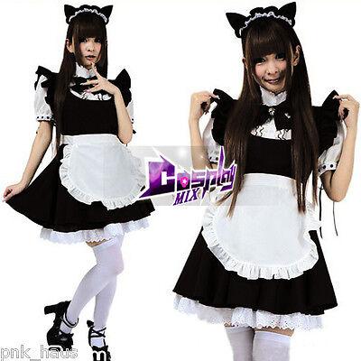 Lolita Mädchen Maid Servant Cosplay Verkleidung Kostüm Kleid mit Schürze schwarz