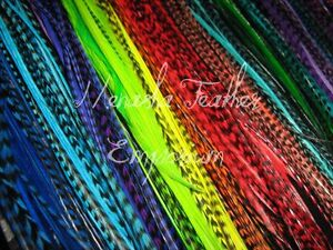 """13 DYED 6-9/"""" WHITING GRIZZLY FEATHER HAIR EXTENSIONS THIN GRIZZLY SADDLE"""