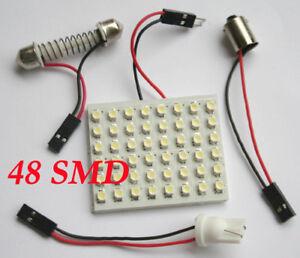 New-48-SMD-LED-Light-Panel-Bulb-T10-Festoon-Dome-Bulb-BA9S-12V-DC-Adapter-White