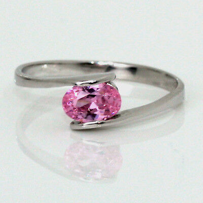 Birthstone Mother's Ring Sterling Stackable Pink Zircon October Gemstone .925