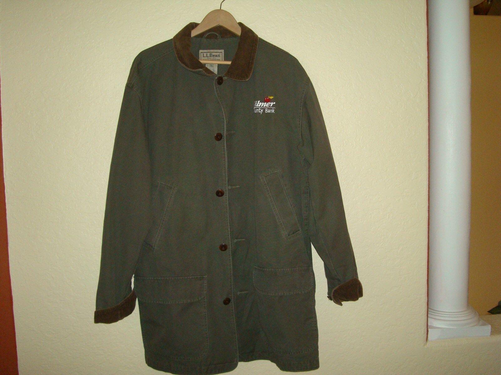 Men's L.L. Bean Green Cotton W Corduroy Trim Coat-Tall Large