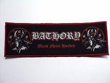 bathory black metal hordes red border   WOVEN  PATCH