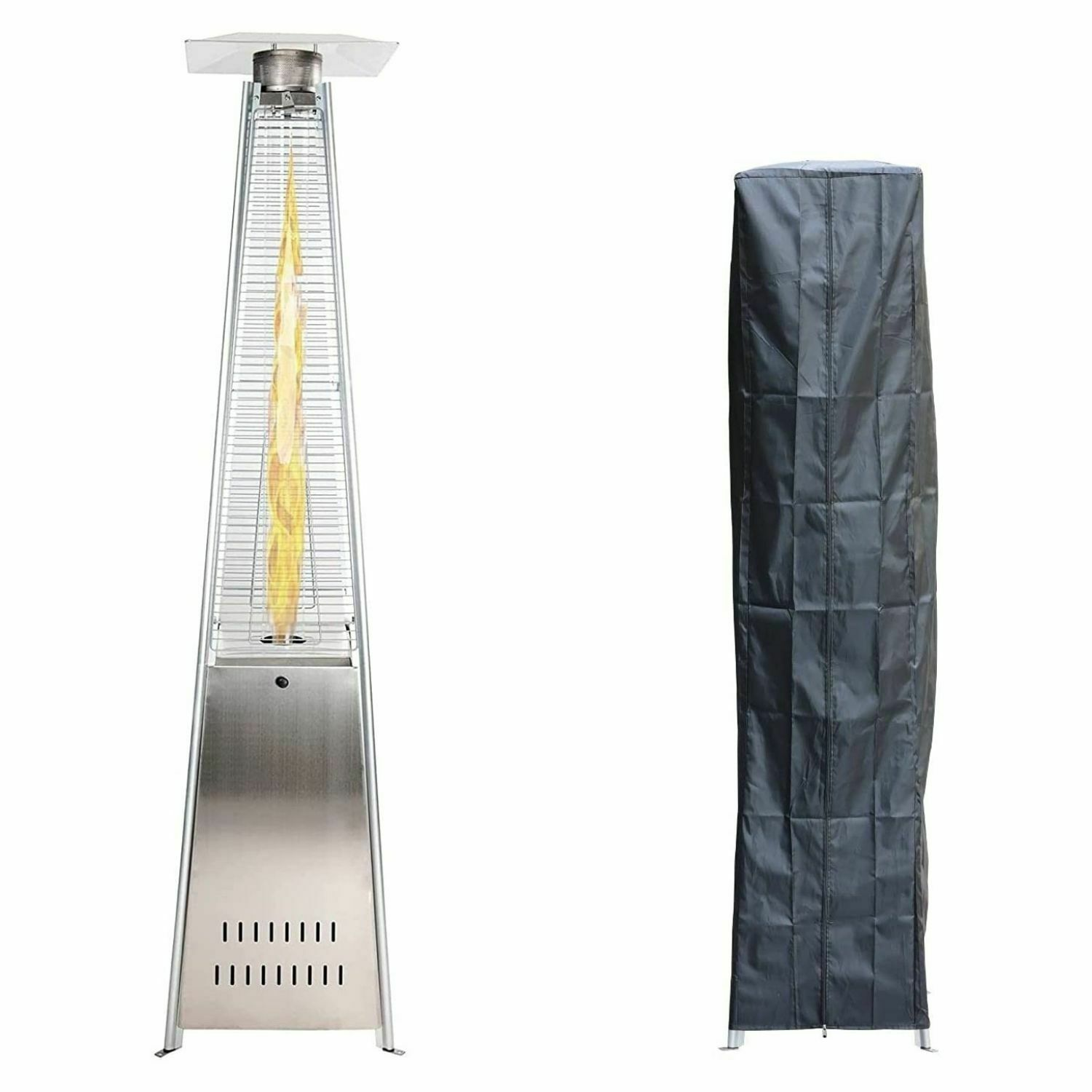 Outdoor Flame Patio Heater - Freestanding Pyramid Heater with Cover