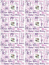 70th Birthday Personalised Gift Wrapping Paper Choose Colour ADD NAME