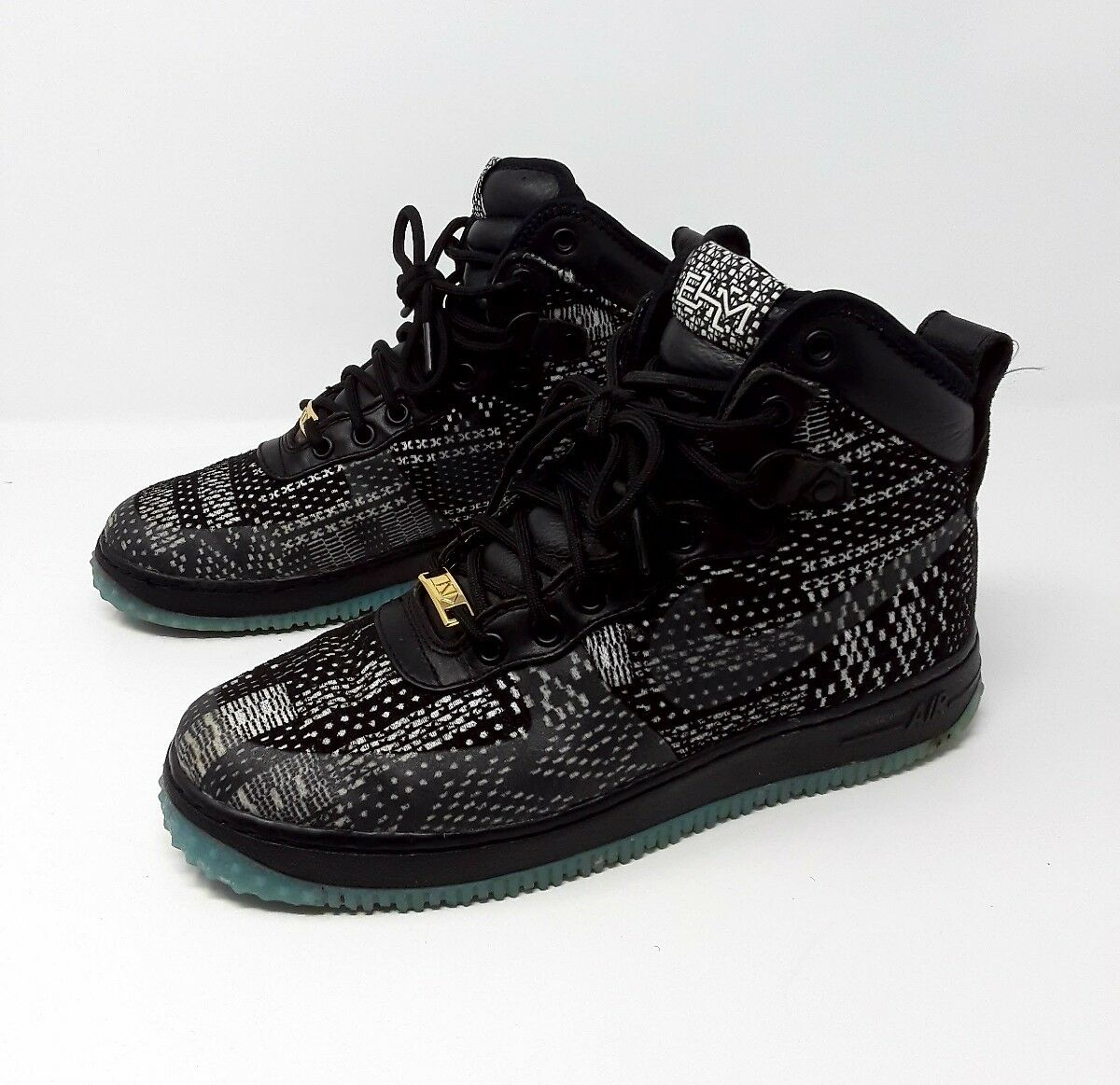 best website be548 1c17e Nike Air Force 1 Duckboot BHM BHM BHM QS Black White-Metallic Gold Men s