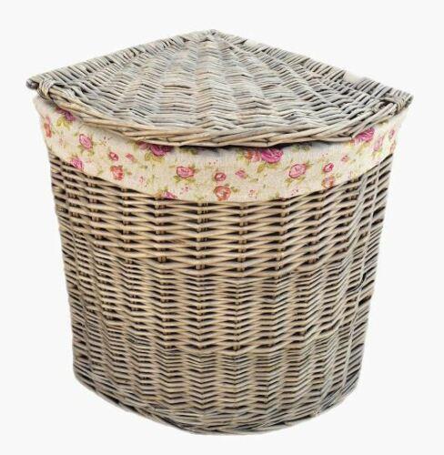 Antique Wash Corner Linen Basket With Garden Rose Lining