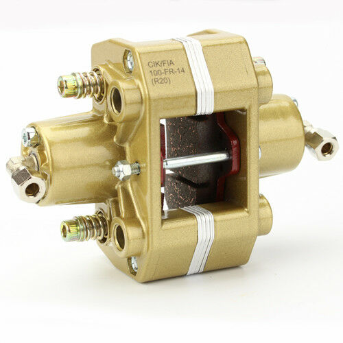 Bremssattel hydraulisch Gold 2-Kolben mit Bremsbelag für Kart Bremse Bremszange
