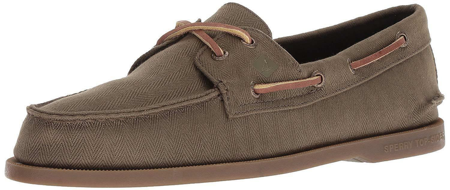 Sperry Homme Chaussures A O 2-Eye Surplus Vert Olive Toile Cuir Bateau 10.5 US NEW