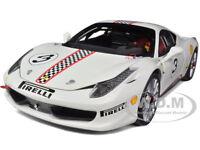 Ferrari 458 Italia Challenge White 3 Elite Edition 1/18 Car By Hotwheels X5487