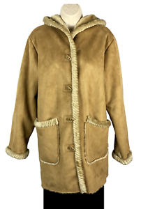 Womens St. John's Bay Faux Shearling Coat Size S Small Brown Tan Toggle Buttons