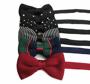 MENS-KNITTED-BOW-TIE-PRE-TIED-MEN-039-S-BOWTIE-WEDDING-FORMAL-TIES-BLACK-WHITE-DOTS
