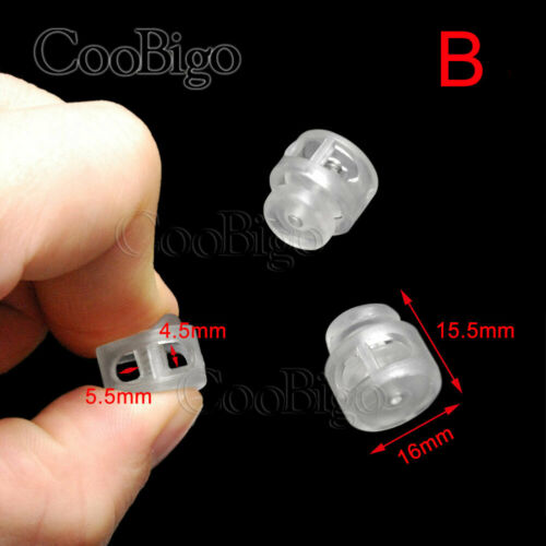 Plastic Clear Cord Lock Ends Bean Ball Stopper Transparent Toggle Clip Buckles
