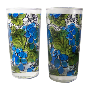 2-Mid-Century-Barware-Grapes-Tumblers-Anchor-Hocking-Glass-Mercer-Signed