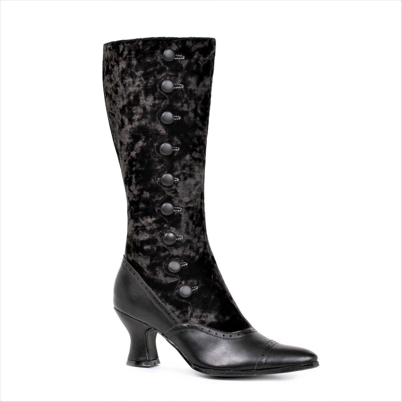 Black Velvet Steampunk Saloon Girl Western Cowboy Halloween Costume Boots 7 8 9
