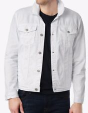 NEW Large MENS 7 FOR ALL MANKIND TRUCKER JACKET DENIM JEAN WHITE DISTRESSED $278