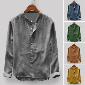 Mens-Casual-Collarless-Shirts-Chinese-Retro-Long-Sleeve-Grandad-Button-Down-Tops