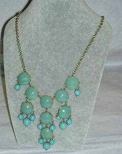 J-Crew-Faceted-Bubble-Necklace-Aqua-Green-Logo-Tag-23-034-Gold-Plated-128