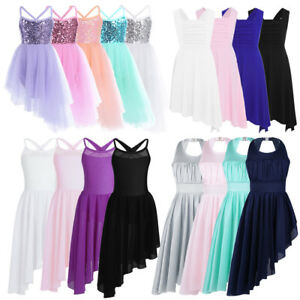 UK-Kids-Girls-Lyrical-Ballet-Dance-Dress-Gymnastics-Leotards-Tutu-Skirt-Costumes