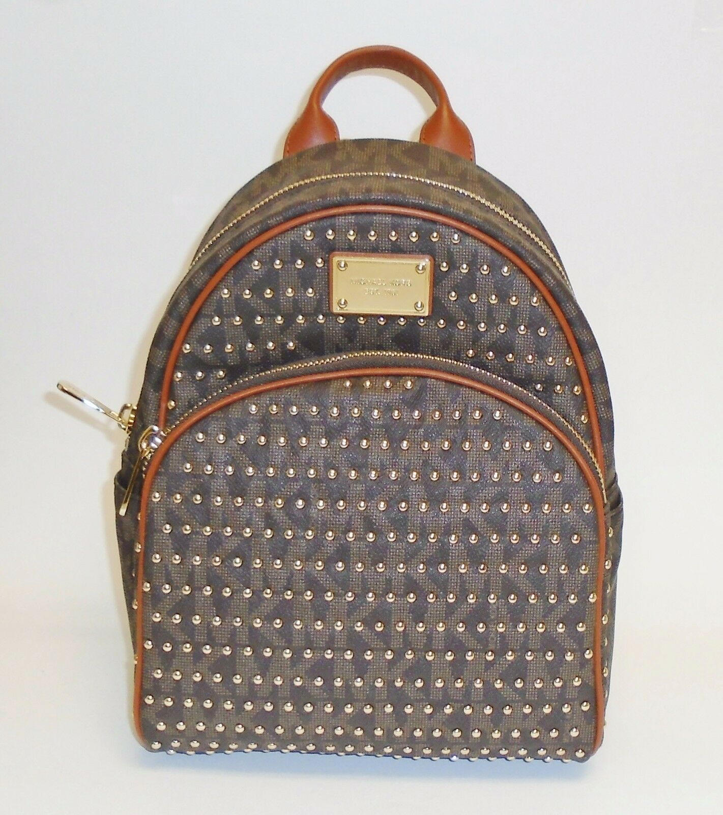 8a9e1453a537a Michael Kors Jet Set Small Studded MK Logo Backpack 30t4gttb1b Brown ...