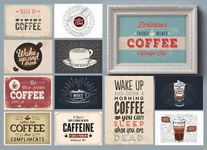 Carteles de estilo vintage y retro cafetería para cotizaciones de arte de la Cocina-Restaurante cafeína