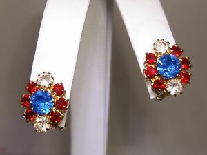 VINTAGE-1960-039-S-LISNER-RED-WHITE-amp-BLUE-RHINESTONE-EARRINGS