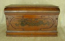 VINTAGE HOUSEHOLD SEWING MACHINE WOOD COFFIN COVER BREADBOX STORAGE FREE SHIP