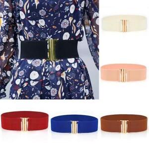 Women Wide Elastic Dress Belt Fashion Buckle Waist Belts Stretch Waistband G^/&*