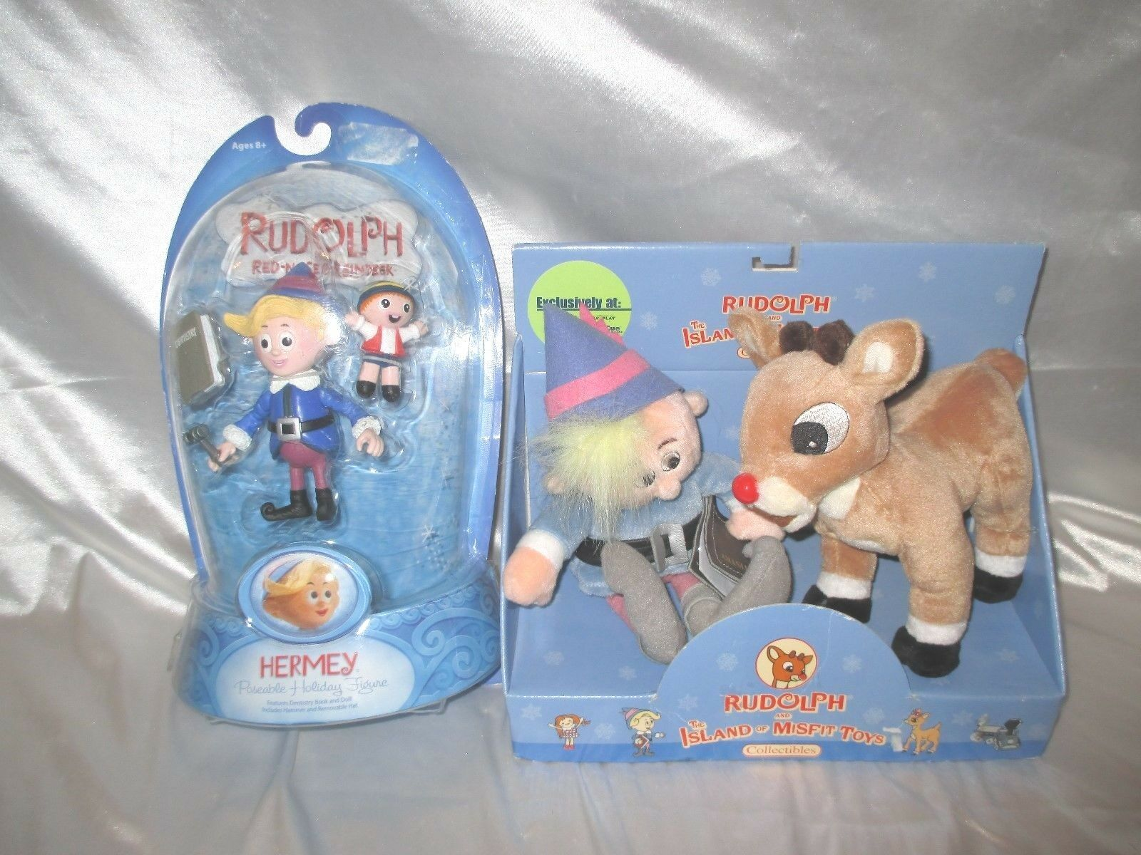 RUDOLPH THE ROT NOSED REINDEER MISFIT TOYS Hermey Doll Figure + PLUSH SET LOT