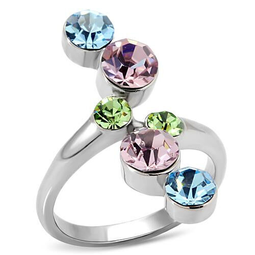 Multi Color Crystal Stones Silver Stainless Steel Ladies Ring New
