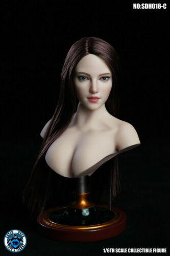 SUPER DUCK 1//6 Weiblich Schwarz Haar Head Sculpt SDH018C Fit 12/'/' Aktionsfigur