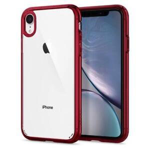 Dettagli su Cover iPhone XR Trasparente Spigen Ultra Hybrid Antiurto Custodia Protettiva RED
