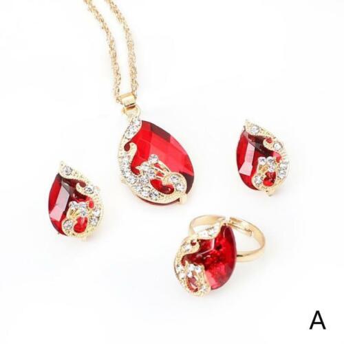 3 teile Österreichischen Kristall Wassertropfen Anhänger Halskette Ring Schmuck