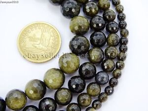 Natural-Golden-Obsidian-Gemstone-Faceted-Round-Beads-15-5-039-039-6mm-8mm-10mm-12mm