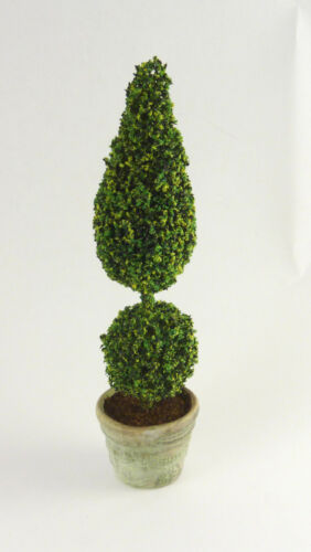 Dollhouse Miniature Artisan Handmade Topiary Tree, 2 Tier, Plain Pot
