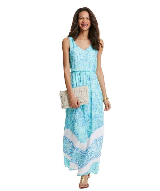 NWT NEW Vineyard Vines bluee Multi Printed Palm Leaf Maxi Dress Size 2  248