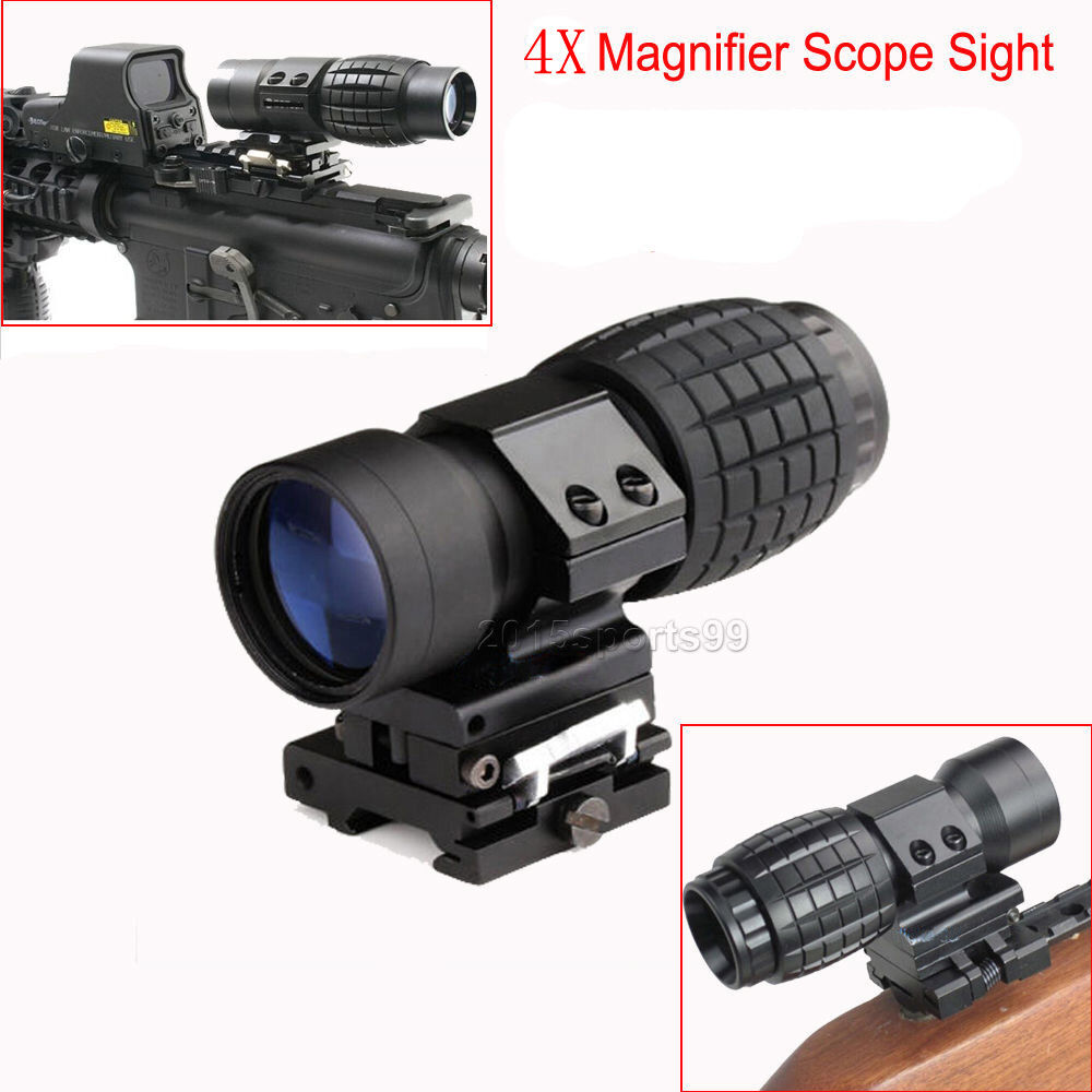 4X Magnifier Scope Sight Flip To Side Mount F 20mm Rail Fr Red Dot Sight Airsoft