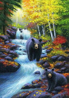 Black bear cub wildlife fishing autumn fall stream landscape OE aceo print art