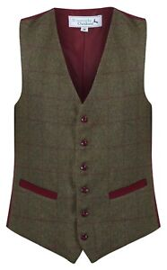 Mens Wool Blend Blenheim Green And Claret Tweed Check Waistcoat Quality Vest