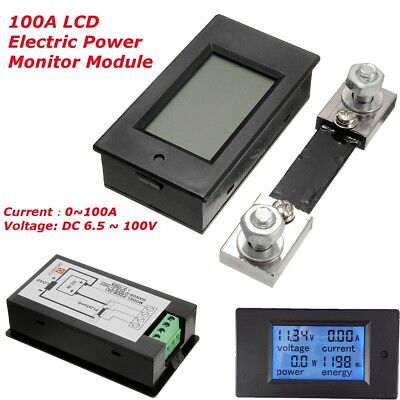 100a DC Digital LCD Power Watt Meter Monitor Voltage kWh Ammeter Voltmeter  Shunt