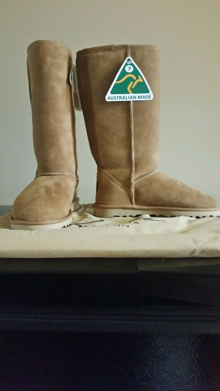 Women Burlee Sheepskin Boot Made In Australia Classic Tall Chestnut 100%Original