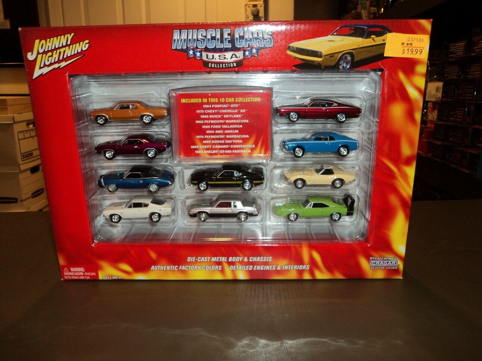 Nouveau JOHNNY LIGHTNING MUSCLE CARS USA 10 voiture Set Collection 1 64 DIE CAST 2004