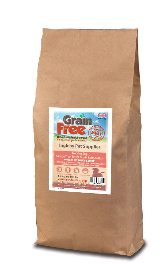 Grain Free Working Dog Food 50% Salmon Sweet Potato & Asparagus 15kg