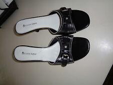 "Etienne Aigner Black Leather Slides w/3"" Heel Strap Decoration Hardly Worn 9.5M"