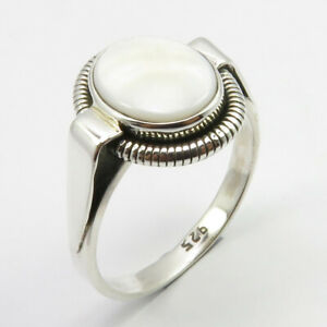 Pearl Sterling Silver Ring Sterling Silver Mother of Pearl Ring Oval Pearl Ring Promise Ring Oval Ring June Birthstone Ring