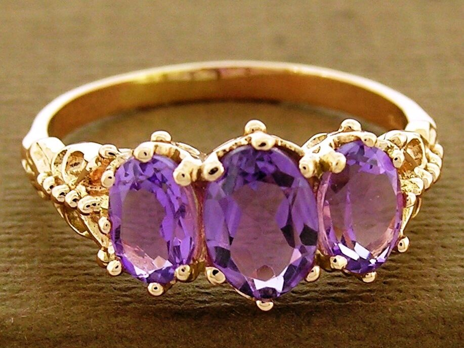 R225- Solid 9ct pink gold NATURAL Amethyst Trilogy Three-stone Ring size N